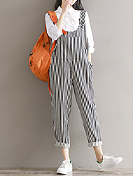 Sign 2017 spring new literary College Wind retro striped Siamese strap loose big yards trousers