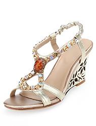 Women's Sandals Summer Fall Slingback Microfibre Office & Career Party & Evening Dress Wedge Heel Rhinestone
