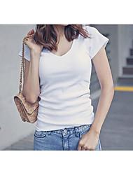 Tee-shirt Femme,Couleur Pleine Plage Actif Eté Manches Courtes Col Arrondi Coton Moyen