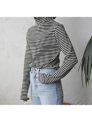 Damen Gestreift Einfach Lässig/Alltäglich T-shirt,Rollkragen Frühling Herbst Langarm Baumwolle Mittel