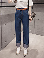 Sign waist 2017 spring new Korean wave curling straight jeans pocket