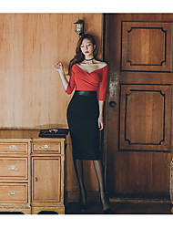 Корее новый летний пакет хип воротник сексуальное платье сплайсинга месте