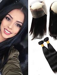 Um Pacote de Solução Cabelo Brasileiro Retas 12 meses 3 Peças tece cabelo