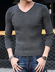 Slim Men solid color long-sleeved V-neck sweater knit sweater coat primer shirt tight pure black men