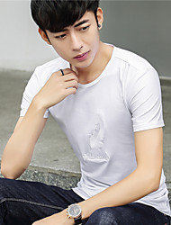 Really making 2017 summer new feather embroidered men's short-sleeved T-shirt Slim Korean cotton T-shirt men
