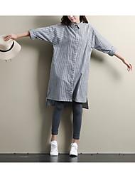 Women's Going out Loose Dress,Striped Shirt Collar Midi Long Sleeve Silk Fall Mid Rise Micro-elastic Thin