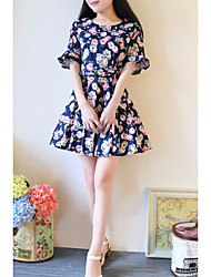 Women's Going out Sheath Dress,Floral Round Neck Above Knee Short Sleeve Silk Spring High Rise Micro-elastic Thin