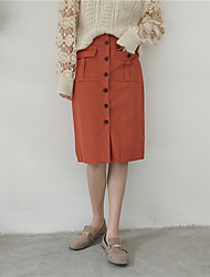 Real shot! Spring new art Fan solid color double pocket button-split skirt bust