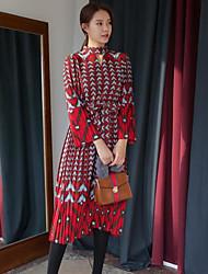 MOCO spot 17 spring temperament ladies wind lace waist retro print pressure pleated dress