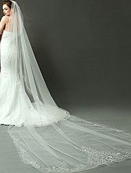 Wedding Veil One-tier Cathedral Veils Cut Edge Organza Ivory