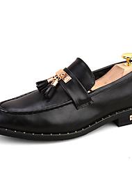 Masculino-Sapatos De Casamento-Creepers Conforto Sapatos formais-Salto Baixo-Preto Vermelho Escuro-Couro-Casamento Escritório & Trabalho
