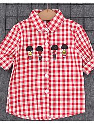 Casual/Daily Check Shirt,Cotton Spring Fall Long Sleeve Regular