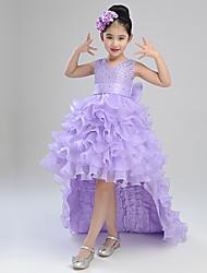 Robe de bal robe asymétrique fille fleur - coton satiné organza satin v-cou avec ruban