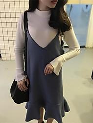 знак корейского шерстяного платья рыбьего хвоста слинга + высокий воротник рогового половина рукав вязать рубашку