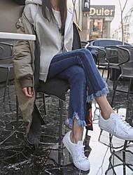 2017 primavera stretch jeans calças femininas split borda cabeluda costura irregular franjadas bell fundo