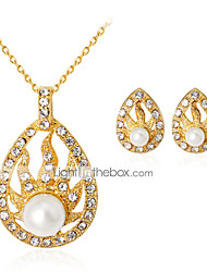 Necklace/Earrings Euramerican Fashion Pearl Rhinestone Alloy Drop Gold For Wedding Party Anniversary Engagement Gift 1 Set Wedding Gifts