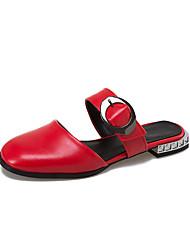 Women's Slippers & Flip-Flops Summer Slingback Comfort PU Casual Low Heel Buckle Walking