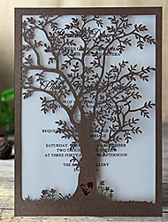 Rustic Tree Wedding Invitation Laser Cut Tree Invitations Brown Wedding Invitation Cards - Set of 50