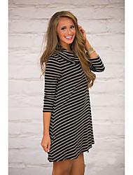aliexpress femmes amazone automne et l'hiver haut rayé col jupe robe à manches longues talonnage