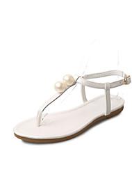 Femme-Décontracté-Blanc Noir Rose-Talon Plat-Confort-Sandales-Polyuréthane