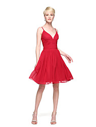 LAN TING BRIDE Knee-length Spaghetti Straps Bridesmaid Dress - Elegant Sleeveless Chiffon