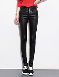 Sign Num 2016 autumn and winter high waist black matte leather pants female outer wear leggings