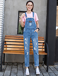 Women's Straight Jeans Overalls Pants,Casual/Daily Street chic Solid Ripped Mid Rise Button Cotton Inelastic Spring Fall