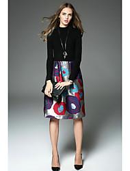 de gama alta vestido de la cintura suéter jacquard costura de Europa y América