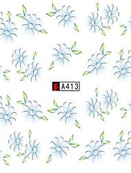 10pcs/set Summer Clear Style Nail Art Sticker Beautiful Light Blue Flower Nail Water Transfer Decals Nail Tip A413
