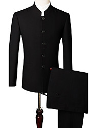 Men's Work Vintage Spring Suit,Solid Shirt Collar Long Sleeve Regular Polyester