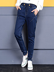 Sign in spring 2017 elastic waist jeans female Korean elastic casual students loose harem pants collapse