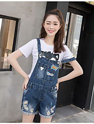 Sign new non-elastic hand grasping pattern frayed printing washed denim strap shorts female college wind