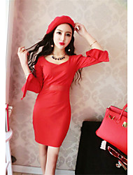Sign skirt was thin long-sleeved V-neck Slim waist trumpet sleeves princess dress
