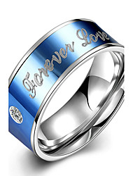 Concise Blue Color Titanium Steel Forever  Love Letter Band Wedding Ring Jewellery for Women Accessiories