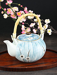 Japanese White Plum Flower High Temperature Porcelain Teapot