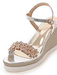 Women's Sandals Summer Fall Club Shoes PU Wedding Office & Career Dress Wedge Heel Rhinestone Buckle