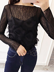 Damen Solide Einfach Niedlich Ausgehen Lässig/Alltäglich Strand T-shirt,Rundhalsausschnitt Sommer Langarm Baumwolle Transparent