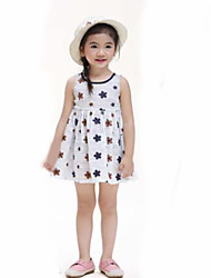 Girl's Casual/Daily Floral Dress,Cotton Linen Summer Sleeveless