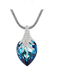 Women's Pendant Necklaces Crystal Heart Chrome Love Dark Blue Light Blue Dark Green Jewelry For Engagement Gift Daily 1pc