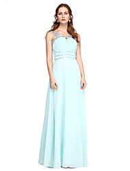 TS Couture Formal Evening Dress - Elegant A-line Jewel Floor-length Charmeuse with Beading Pleats
