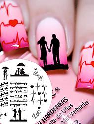 1 шт BP71 тема любви пара сердца ногтей штамповки шаблон изображения пластины милые птицы печать изображения пластина