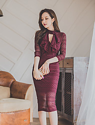 2017 printemps nouveau haut de gamme 7 points manche élégant et sexy fourreau bas de la robe de dentelle