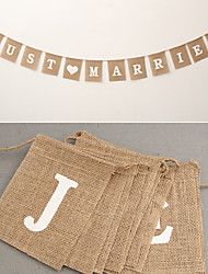 Jute Rope Flax Wedding Photo Props Vintage Banner Jute Burlap Bunting Just Married Rustic Garland Party wedding Decoration (3.5m Length)