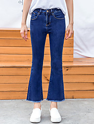 Women's High Rise Micro-elastic Jeans Pants,Vintage Bootcut Chiffon Solid
