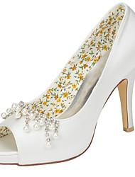 Damen-High Heels-Hochzeit Kleid Party & Festivität-Stretch - Satin-Stöckelabsatz-Club-Schuhe-Elfenbein