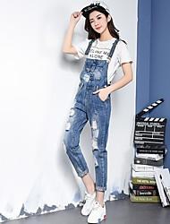 Sign hole wild Korean yards female denim overalls Siamese Slim thin curling straight jeans