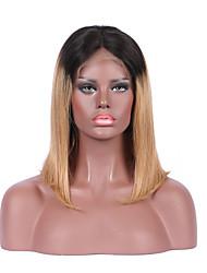 Beata Hair Brazilian Virgin Hair Glueless Lace Front Wig Ombre 1B 27 Blonde Short Bob Wig for Women Human Hair