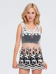 Damen Solide Street Schick Strand Urlaub T-shirt,Rundhalsausschnitt Sommer Ärmellos Polyester Lichtdurchlässig