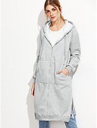 The new foreign trade in Europe and America long coat gray hooded windbreaker forked shelf