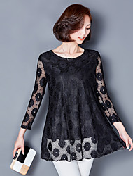 Sign 2017 Korean version of large size women long-sleeved lace dress long section of loose fat MM was thin bottoming shirt